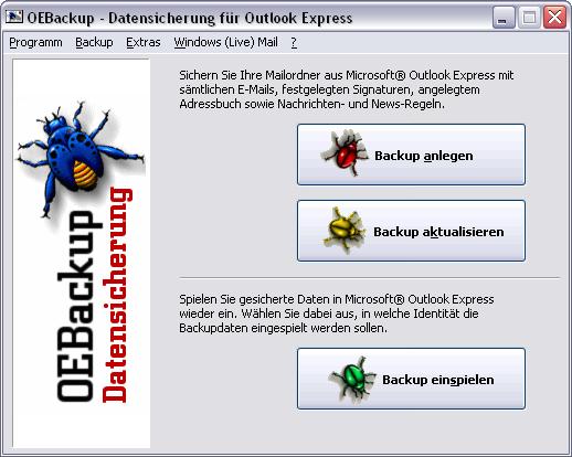 OEBackup - Backup für Outlook Express